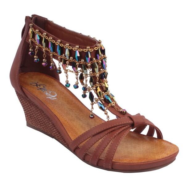 Refresh by Beston Women's 'GINNY-12' T-Strap Wedge Sandals