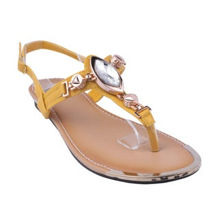 Refresh by Beston Women's Yellow 'JETTA-07' Flat Triangle Sandals