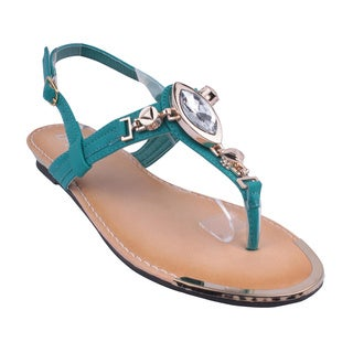 Refresh by Beston Women's Teal 'JETTA-07' Flat Triangle Sandals