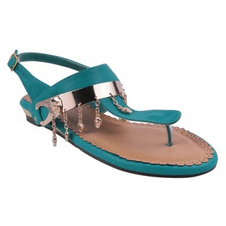 Refresh by Beston Women's 'JETTA-10' Flat Triangle Turquoise Sandals