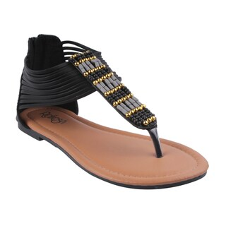 Refresh by Beston Women's Black 'MADDY-02' Flat Gladiator Sandals
