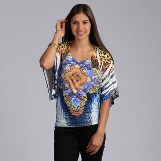 Tabeez Women's Medallion Print Dolman Sleeve Top