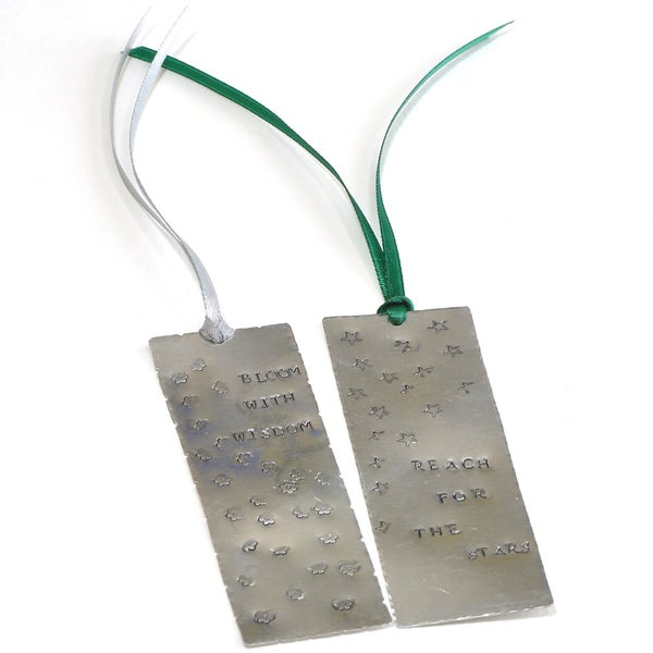 Handmade and Hand Stamped Metal Book-Marks (Set of 2)