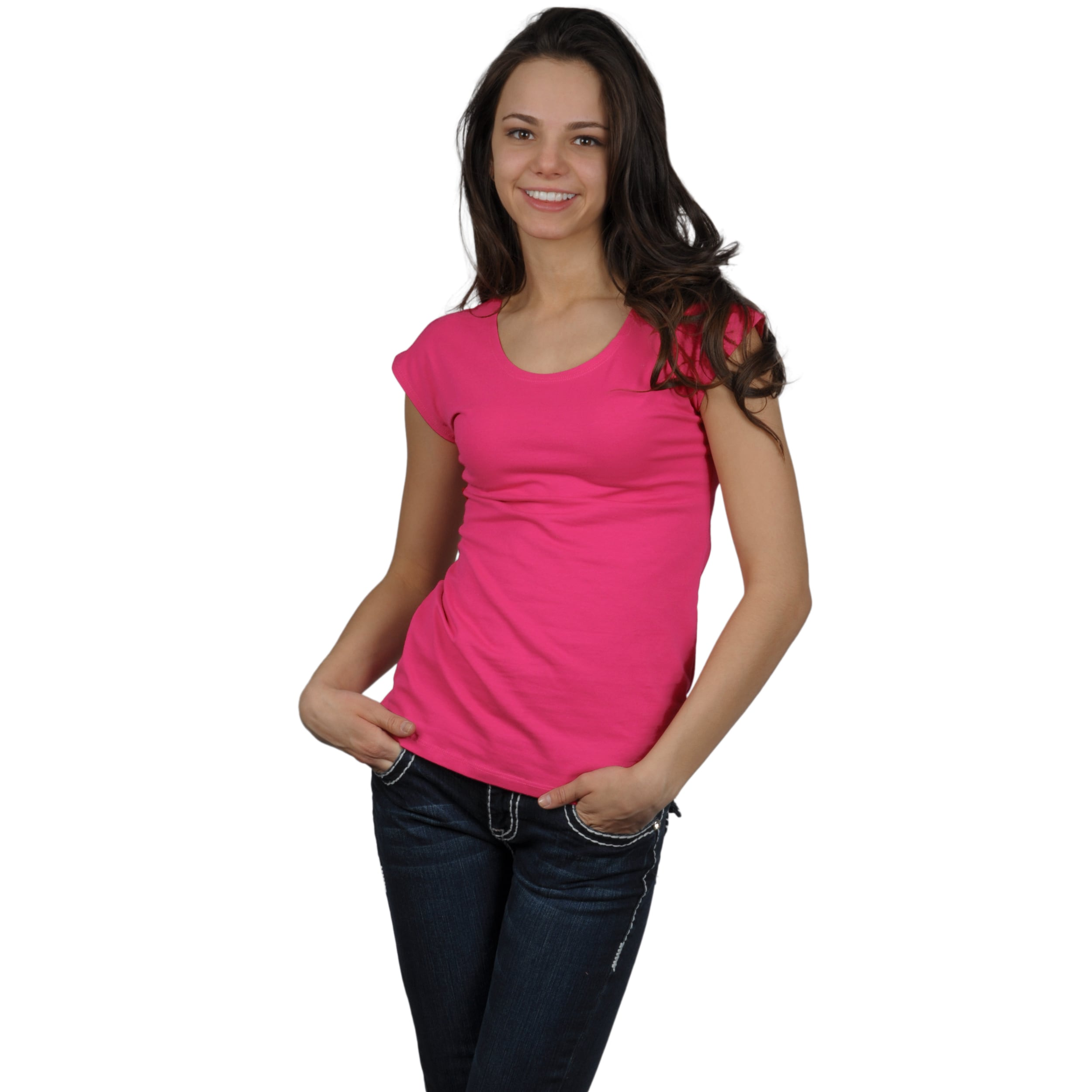 Fashion Corner Women's Scoop-Neck Layering Cap Sleeve Tee