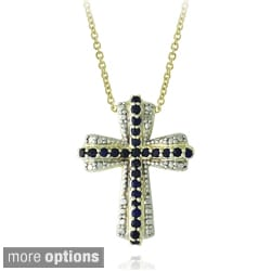 Glitzy Rocks Goldtone Gemstone and Diamond Accent Cross Necklace