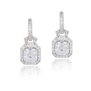 Icz Stonez Sterling Silver Cubic Zirconia Square Dangle Earrings