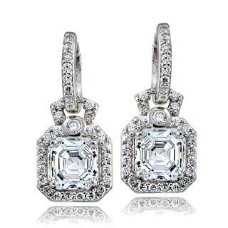 Icz Stonez Sterling Silver Asscher-cut Cubic Zirconia Square Dangle Earrings