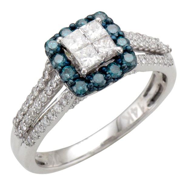 14k Gold 1ct TDW Blue and White Diamond Halo Engagement Ring (H-I, I1-I2)