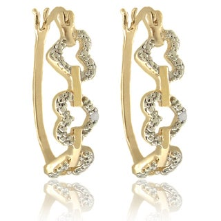 Finesque 18k Gold Overlay Diamond Accent Linked Heart Hoop Earrings