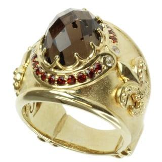 Dallas Prince Gold over Silver Smoky Quartz, Garnet and White Sapphire Ring