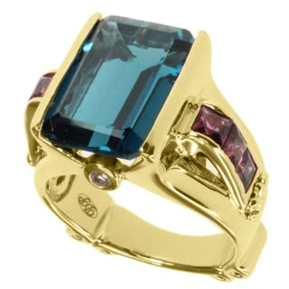 Dallas Prince Gold over Silver Blue Topaz, Rhodolite and Sapphire Ring