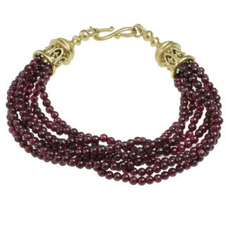 Michael Valitutti Gold over Silver Garnet Bead and White Sapphire Bracelet