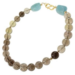 Michael Valitutti Gold over Silver Smoky Quartz and Aquamarine Necklace