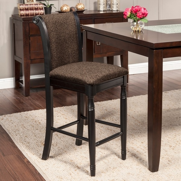 Homepop French Roast Chenille Fabric Upholstered Barstool