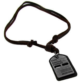 Moise Black-plated Brass and Brown Leather Cord Dog Tag Necklace