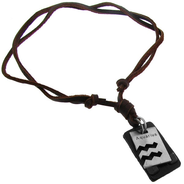 Silvertone Zodiac and Brown Leather Cord Dog Tag Necklace