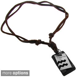 Moise Silvertone Zodiac and Brown Leather Cord Dog Tag Necklace