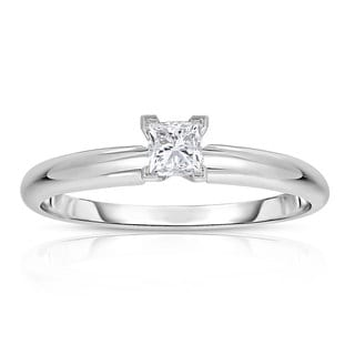 14k White Gold 1/4ct Princess Solitaire Diamond Ring (G-H, VS1-VS2)