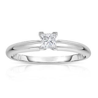 14k White Gold 1/4ct Princess-cut Solitaire Engagement Ring (G-H, VS1-VS2)