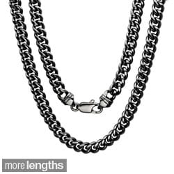 Sterling Essentials Bronze with Black Rhodium-plating 5.5mm Cuban Link Chain ( 22-30 inch)