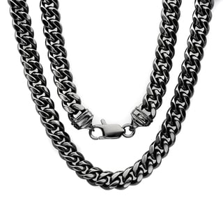 Sterling Essentials Black Rhodium-plated 7.5mm Classic Cuban Link Chain