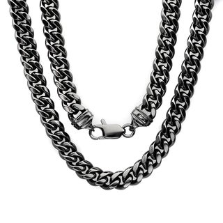 Sterling Essentials Bronze with Black Rhodium-plating 7.5mm Cuban Link Chain ( 22-30 inch)