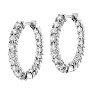 14k White Gold 2 1/2ct TDW Diamond Hoop Earrings (F-G, SI1-SI2)