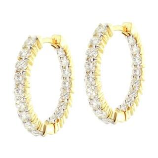 14k Yellow Gold 2 1/2ct TDW Diamond Hoop Earrings (F-G, SI1-SI2)