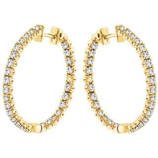 14k Yellow Gold 3ct TDW Diamond Hoop Earrings (G-H, SI1-SI2)