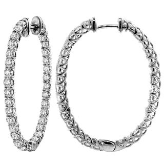 14k White Gold 4 1/2ct TDW Diamond Oval Hoop Earrings (F-G, SI1-SI2)
