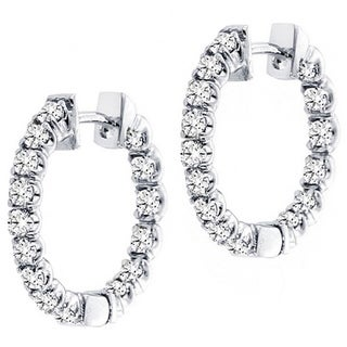 14k White Gold 3ct TDW Diamond Inside-out Hoop Earrings (F-G, SI1-SI2)