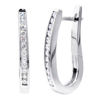 14k White Gold 4/5ct TDW Diamond Channel Hoop Earrings (F-G, SI1-SI2)