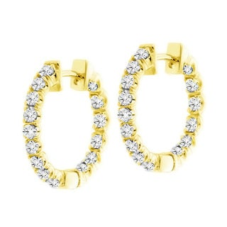 14k Yellow Gold 3ct TDW Diamond Inside-out Hoop Earrings (F-G, SI1-SI2)