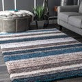 nuLOOM Handmade Striped Plush Shag Rug (7'6 x 9'6)