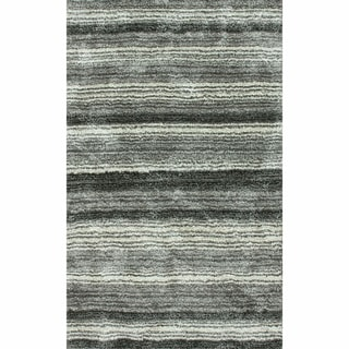 nuLOOM Handmade Striped Plush Shag Rug (9' x 12')
