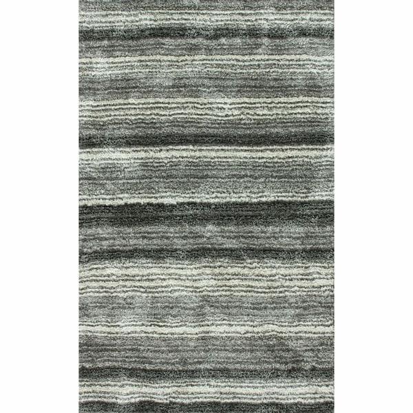 nuLOOM Handmade Striped Plush Shag Rug (9' x 12')