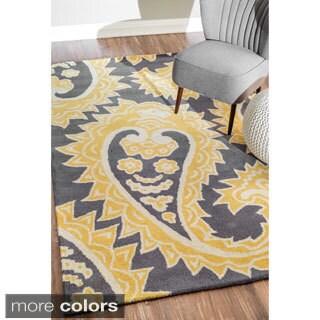 nuLOOM Handmade Flatweave Paisley Wool Rug (5' x 8')