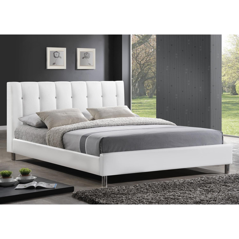 baxton studio vino modern upholstered full size bed headboard