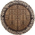 Flora Contemporary Beige Area Rug (5'3 Round)