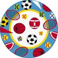 Childrens Fun White Sports Patterned Rug (3'11 Round)