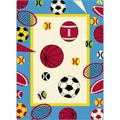 Childrens Fun White Sports Patterned Area Rug (5'3 x 7'3)