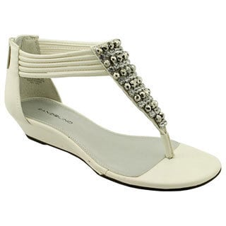 Bandolino Women's 'Pitar' White Faux Leather Sandals