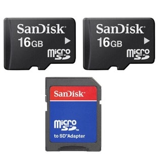 16GB MicroSD Memory Card with SD Adapter (Pack of 2)