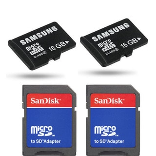Samsung 16gb Micro SDHC Class 2 Memory Card with SD Adapter (Pack of 2)