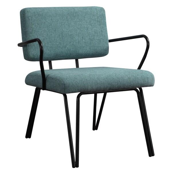 Aqua upholstery accent chair office salon modern style peacock blue