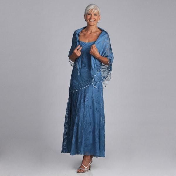 Alex Evenings Sleeveless Long Chiffon Burnout Dress with Shawl