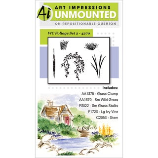 Art Impressions Watercolor Cling Rubber Stamp-Foliage Set 2