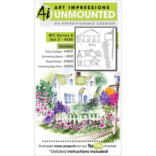 Art Impressions Watercolor Cling Rubber Stamp-Series 8 Set 2