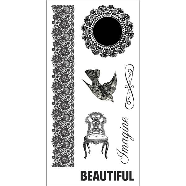 "Fiskars Teresa Collins 4""X8"" Sheet Cling Stamps -Doily Banner"