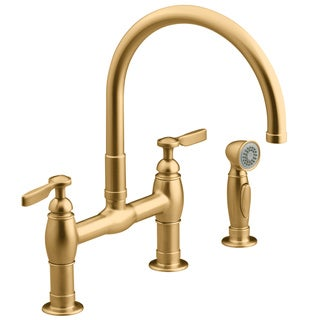 Kohler Parq Brushed Bronze Deck Mount Kitchen Faucet with Spray